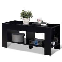 2-Tier Wood Coffee Table Sofa Side Table w/ Storage Shelf Furniture Black/Walnut