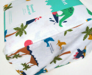 Pillow Fort Cotton Multi Colors Dinosaur Dino Island Flannel Queen Sheet Set New