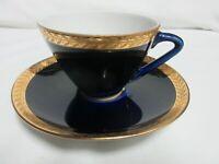 VTG Demitasse Cup & Saucer Cobalt and Gold Trim  Made in USSR