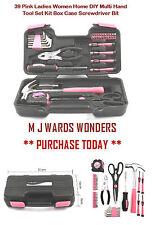 39 Pink Ladies Women Home DIY Multi Hand Tool Set Kit Box Case Screwdriver Bit
