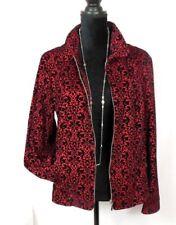 Red Black Velvet Jacket zipper Tailored Look SMALL Christopher & Banks