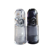 1XUnique Snuff Bullet Box Dispenser Snuffer Clear Acrylic Glass Rocket Random