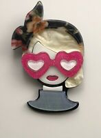 Unique Lady with sunglasses Large Pin Brooch In acrylic