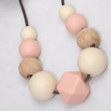 Silicone Necklace for mum was teething sensory wood apricot  jewellery sensory