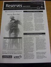 11/03/2002 Wolverhampton Wanderers Reserves v Preston North End Reserves  (Singl