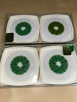 Vintage Hallmark Christmas Plastic Coasters- Christmas Wreath- Original Box- 8