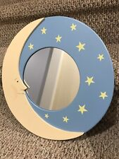 "15"" Round Hanging Tan & Blue Wooden Moon & Stars Wall Mirror For Nursery"