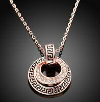 "Greek Pave Medallion Necklace made with Swarovski Crystals in 14K Rose Gold 18"""