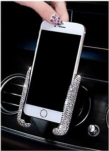 Multi-Function Crystal Rhinestone Phone Holder Car Air Vent Mobile Phone Stand