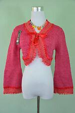 New Ladies Knit Victorian Ruff Tie Lace Crop Bolero Shrug Cardigan One Size W79