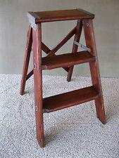 Vintage 3-Steps Stool Stepstool Ladder Primitive Stand Folding Pine Wood