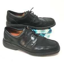 Men's Clarks Unstructured Size 11M Oxfords Shoes Black Leather Apron Toe U10