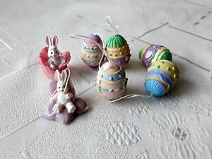 5 small EASTER EGGS and 2 small BUNNIES ,colourful easter DECORATIONS