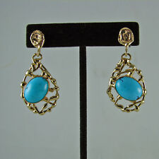 Robins Egg Blue Turquoise Cabochons in 14k Yellow Gold Earrings Pierced Backs