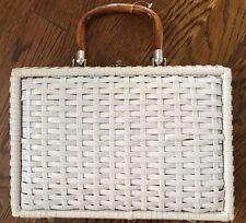 Vintage White Wicker Handbag - Handmade British Hong Kong