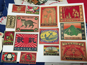 Lot # 45 China and/ or Japan Matchbox Mostly Packet Labels about 100 Years Old