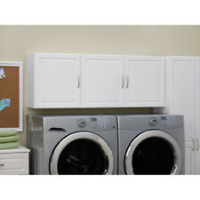 Wall Cabinet Laundry Utility Room Storage Wall-mount 3 Cupboards White Wood 54""