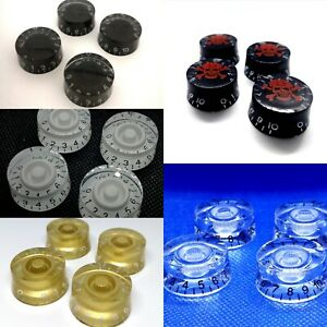 4 x Electric Guitar Speed Knobs for Les Paul etc. Many Colours New UK 1st Class