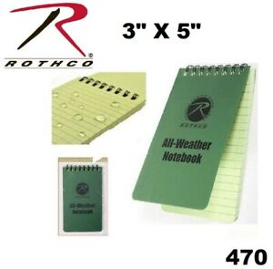 """Military Olive Drab Green All Weather Waterproof Notebook 3"""" x 5"""" Rothco 470"""