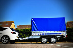 New Car Trailer Twin Axle 8,7ft x 4,4ft 750 kg with canvas cover H - 140 cm