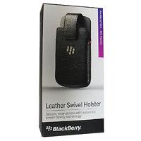 New OEM Blackberry Q10 Leather Swivel Holster Pouch Sleeve Case Retail - Black