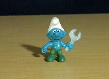 Smurfs 20012 Handy Smurf Mechanic Wrench Rare Vintage Figurine PVC Toy Figure