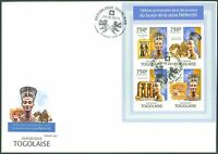 TOGO 2013 BUST OF NEFERTITI 100TH DISCOVERY ANNIVERSARY EGYPT SHEET OF 4 FDC