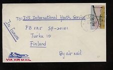 Macau  revalued  stamp on cover  to  Finland          HC0417