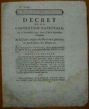 Décret de la convention relatif aux comptes des receveurs généraux / 1793
