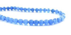 Cats Eye Fiber Optic Light Blue 4mm Round Beads  4CE07