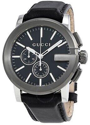 Gucci G-Chrono Swiss Chronograph Black Dial Black Leather Mens Watch YA101205 SD