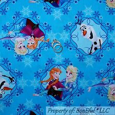 BonEful Fabric Cotton Quilt Blue White FROZEN Disney Snowflake Girl SALE L SCRAP