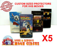 5x VHS MOVIE CLEAR PLASTIC PROTECTIVE BOX PROTECTORS SLEEVE - ARCHIVAL QUALITY