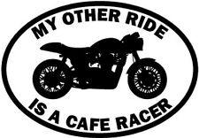 """RIDE CAFE RACER MOTORCYCLE Vinyl Decal Sticker-6"""" Wide White Color"""