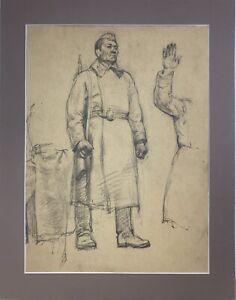 Vintage Original  drawing, Soldier, Male Portrait, Soviet Art, One of a kind