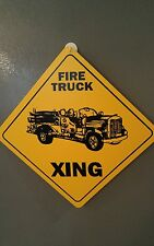 "FIRE TRUCK XING (crossing)  - 12"" x 12"" Plastic Sign"