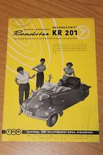 Messerschmitt KR201 Sports Cabriolet Roadster Original Sales sheet