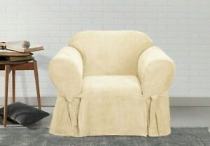NEW Sure Fit Soft Suede 1 Piece Chair Slipcover Box Cushion in Soft Suede taupe
