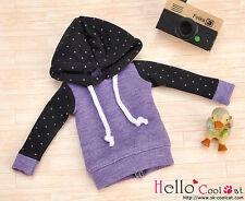 ☆╮Cool Cat╭☆109.【NP-B16】Blythe/Pullip Hoodie Top(Long Sleeves)# Dot Purple