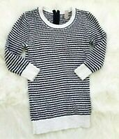 Womens Striped Sweater Lightweight 3/4 Sleeve XS White Black Banana Republic