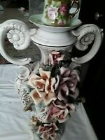 $50 Down! Vintage CAPODIMONTE Pink & Yellow ROSES Double Handle Urns Vase 21.5""