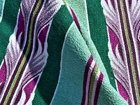 1930's Art Deco Acanthus Leaf Barkcloth Vintage Fabric Drape Curtain Miami Beach
