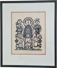 "Sadao Watanabe ""Jesus and The Children"" 1977, Signed, Milticolor Woodblock Print"