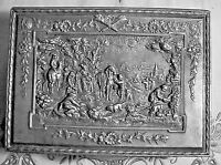 LARGE ANTIQUE ORNATE  EMBOSSED SCENIC BOX SILVER REPOUSSE jewelry casket box