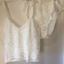 Victoria's Secret Vintage Ivory Lace Camisole & Tap Shorts Lingerie Set Medium