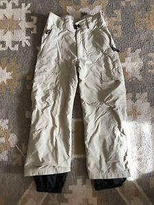Obermeyer Boys Ski Pants Snow Junior Youth  size 10 EUC khaki sand grey color