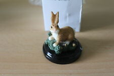 RABBIT FIGURE ON WOODEN BASE From READERS DIGEST