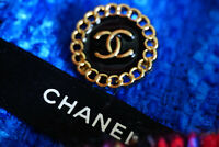 STAMPED Chanel Buttons 1 pieces BLACK 20 mm 0,8 inch💋 logo cc