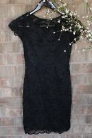 Ambiance | Women's Short Lace Black Dress W/ Slip | Casual Event | Size Small