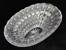"Large 12"" Bohemia Crystal Oval Bowl Queen Lace Hand Cut Glass Czech Republic"
